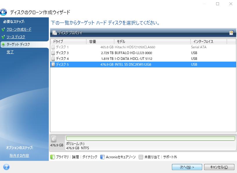 ターゲットハードディスクの選択。